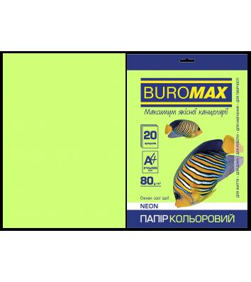 Папір А4  80г/м2  20арк кольоровий неоновий зелений, Buromax