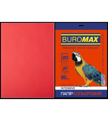 Папір А4  80г/м2  20арк кольоровий інтенсивний червоний, Buromax