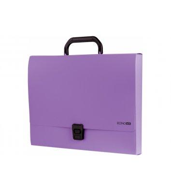 Портфель А4 пластиковий на застібці 1 відділення фіолетовий, Economix