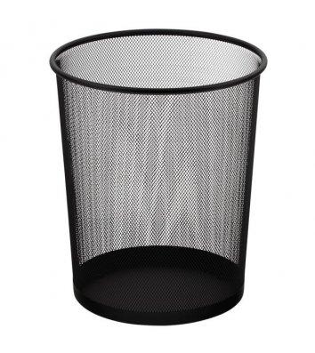 Корзина для мусора металлическая черная 10л, Buromax