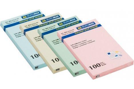 Стикеры 76*127мм 100л пастельные цвета ассорти, Buromax
