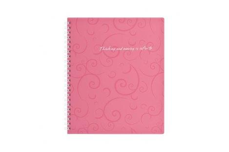 Блокнот В5 80арк клітинка Barocco, бічна спіраль рожевий, Buromax
