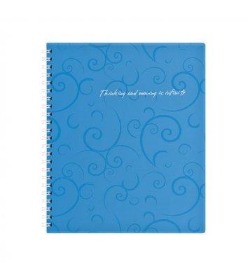 Блокнот В5 80л клетка Barocco, боковая спираль голубой, Buromax