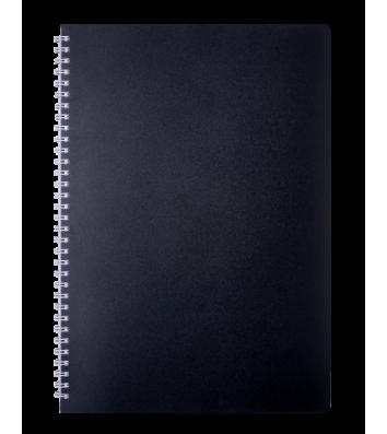 Блокнот A4 80арк клітинка Classic, бічна спіраль чорний, Buromax