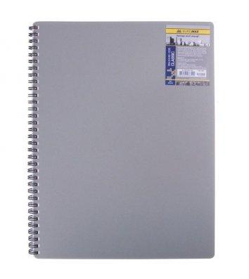 Блокнот A4 80л клетка Classic, боковая спираль серый, Buromax