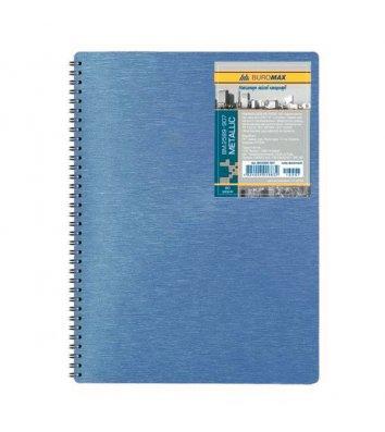 Блокнот A4 80арк клітинка Metallic, бічна спіраль синій, Buromax