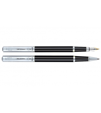 Набор роллер и ручка перьевая, цвет корпуса черный металлик, Regal