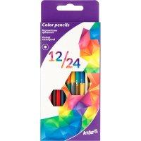 """Олівці кольорові 12шт 24 кольори двосторонні шестигранні """"Геометрія"""", Kite"""