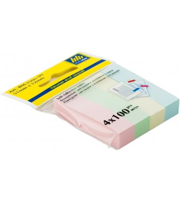 Стикеры-закладки бумажные 12*51мм 500л 4 пастельных цвета ассорти, Buromax