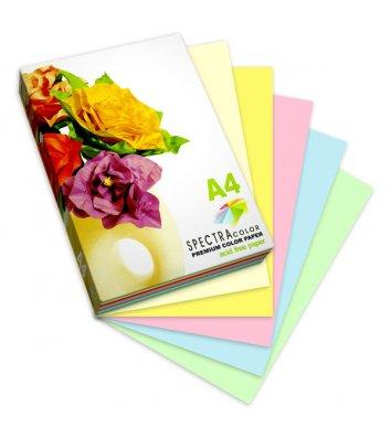 Набор бумаги А4 80г/м2 100л цветной Spectra Color, 5 пастельных цветов