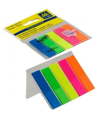 Стикеры-закладки пластиковые 12*45мм 125л 5 неоновых цветов ассорти, Buromax