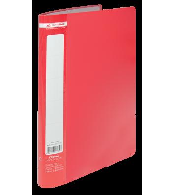 Папка А4 пластикова з 10 файлами червона Jobmax, Buromax