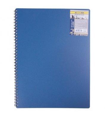 Блокнот A6 80арк клітинка Classic, бічна спіраль синій, Buromax