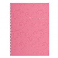 Блокнот A4 80арк клітинка бічна спіраль, Barocco рожевий, Buromax