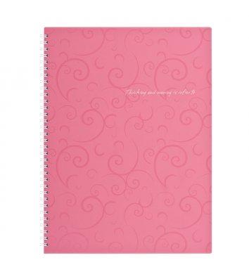 Блокнот A4 80арк клітинка Barocco, бічна спіраль рожевий, Buromax