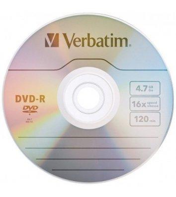Диск DVD+R 4.7Gb 16x Silver, Verbatim