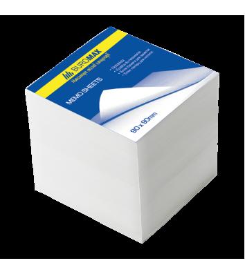 Папір для нотаток 90*90мм 1000арк білий непроклеєний, Buromax