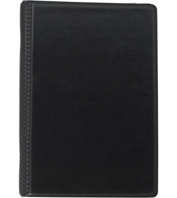 Визитница на 120 визиток на кольцах черная, Buromax