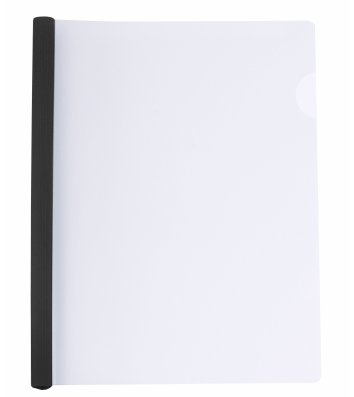 Папка А4 пластикова з планкою-притиском 2-65арк чорна, Economix