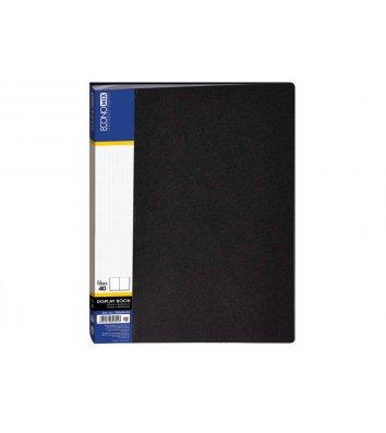 Папка А4 пластиковая 40 файлами черная, Economix