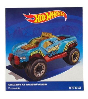 """Пластилін восковий 12 кольорів 240г """"Hot Wheels"""", Kite"""