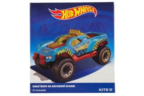 """Пластилин восковой 12 цветов 240г """"Hot Wheels"""", Kite"""