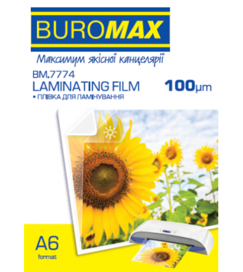 Плівка для ламінування А6 100мкм 100шт глянцева, Buromax