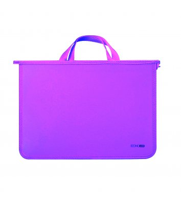 Портфель А4 пластиковий на блискавці 2 відділення бузковий, Economix