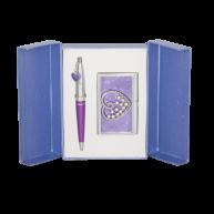 Набір ручка кулькова та візитниця Crystal Heart фіолетовий, Langres