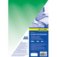 Обложка для переплета А4 180мкм 50шт пластиковая прозрачная зеленая, Buromax