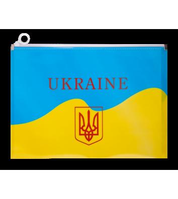 Папка-конверт А4 на блискавці пластикова Ukraine жовто-блакитна, Buromax