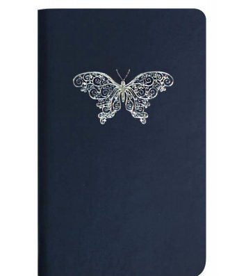 """Діловий записник А5 Vivella """"Метелик"""" темно-синій, Optima"""