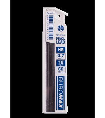 Стрижні до механічного олівця HB 0,7мм 12шт, Buromax