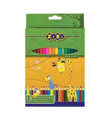 Олівці кольорові 18шт шестигранні, Zibi