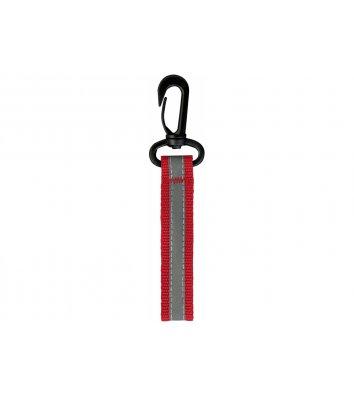 Брелок светоотражающий на пластиковом карабине красный, Maxi