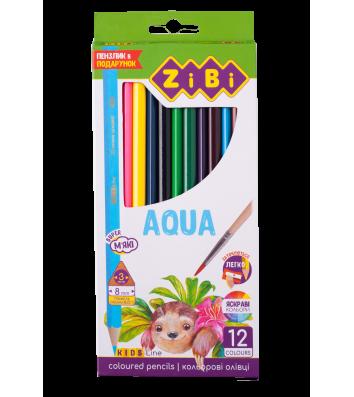 """Олівці кольорові акварельні 12шт тригранні """"Aqua"""", Zibi"""