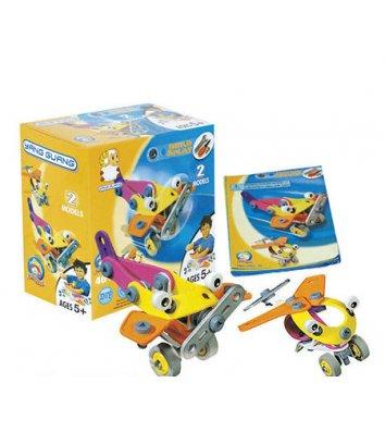 Конструктор пластиковий з гнучкими деталями - 2 літака, гелікоптер в коробці, Flexible Build&Play