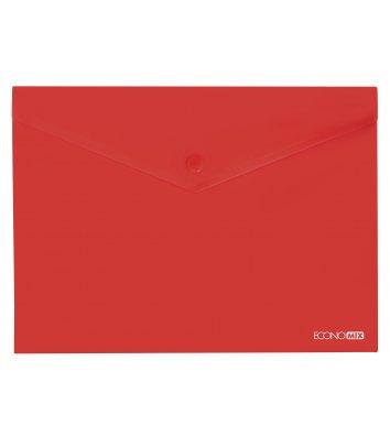 Папка-конверт В5 на кнопці пластикова прозора червона, Economix