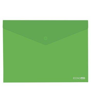 Папка-конверт В5 на кнопці пластикова прозора зелена, Economix