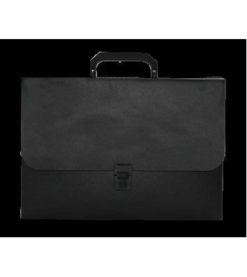 Портфель А4 пластиковый на замке 1 отделение черный, Buromax