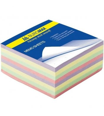 "Бумага для заметок 90*90мм 500л ""Декор"", цветная непроклеенная, Buromax"