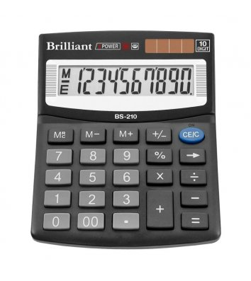 Калькулятор 10 розрядів 100*124*33мм, Brilliant