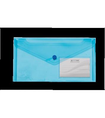 Папка-конверт DL на кнопці пластикова синя Travel, Buromax