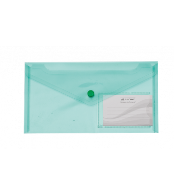 Папка-конверт DL на кнопці пластикова зелена Travel, Buromax