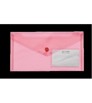 Папка-конверт DL на кнопці пластикова червона Travel, Buromax