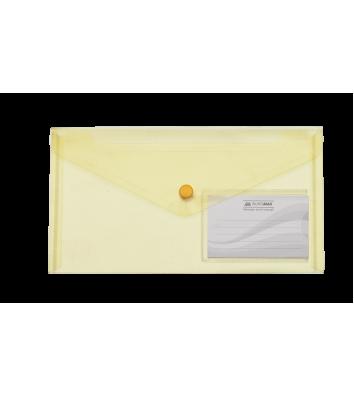 Папка-конверт DL на кнопці пластикова жовта Travel, Buromax