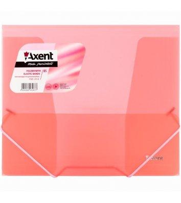Папка B5 пластиковая на резинках прозрачная красная, Axent