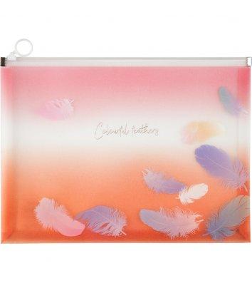 Папка-конверт А4 на блискавці пластикова Colourful Feather, Axent