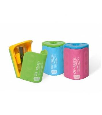 """Чинка пластикова 1 лезо з контейнером """"Pastel"""" асорті, Cool for School"""