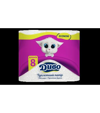 Туалетная бумага двухслойная 8рул/уп Диво Econom целлюлозный, белый